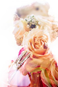 Double exposure with Claudia's wedding bouquet and her Indian sari wedding gown.